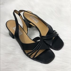 Coach Vintage 90s Square Toe Black Leather Heels